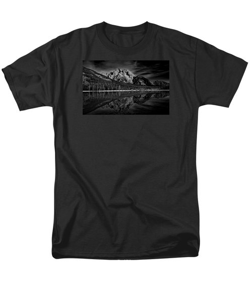 Mount Moran In Black And White Men's T-Shirt  (Regular Fit) by Raymond Salani III