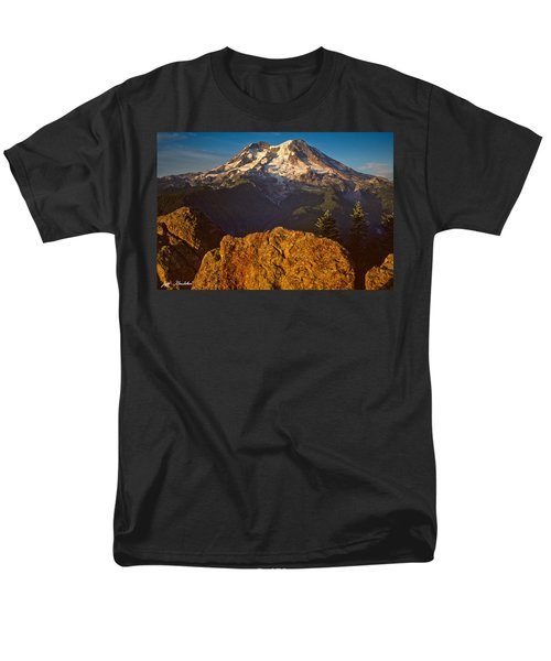 Men's T-Shirt  (Regular Fit) featuring the photograph Mount Rainier At Sunset With Big Boulders In Foreground by Jeff Goulden