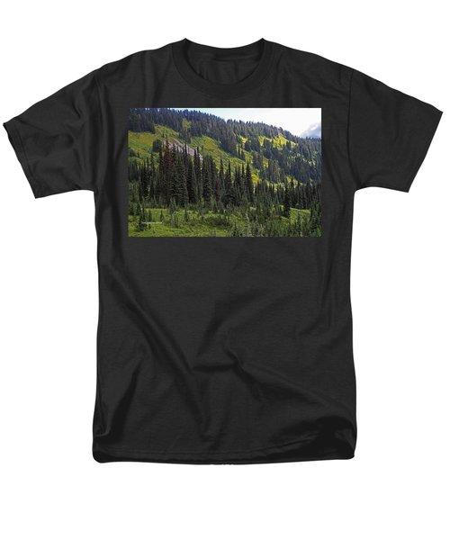 Mount Rainier Ridges And Fir Trees.. Men's T-Shirt  (Regular Fit) by Tom Janca