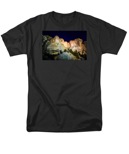 Men's T-Shirt  (Regular Fit) featuring the photograph Mount Rushmore At Night by Penny Lisowski
