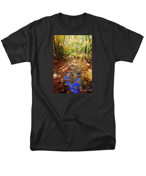 Mountain Stream Covered With Fall Leaves Men's T-Shirt  (Regular Fit) by Eunice Miller