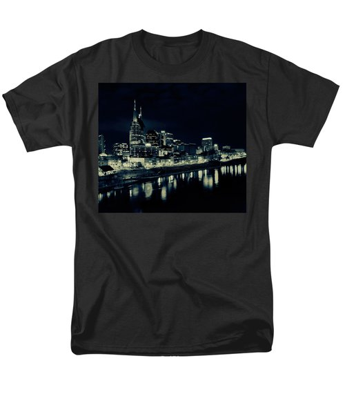 Nashville Skyline Reflected At Night Men's T-Shirt  (Regular Fit) by Dan Sproul