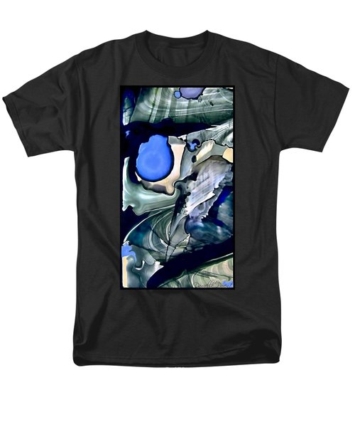 Navy Blue Sage Abstract Alcohol Inks Men's T-Shirt  (Regular Fit) by Danielle  Parent