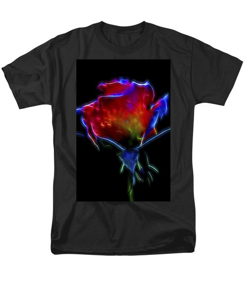 Men's T-Shirt  (Regular Fit) featuring the digital art Neon Rose by William Horden