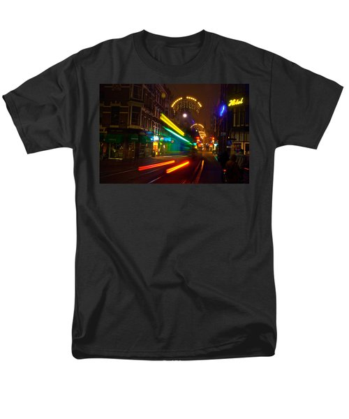 Men's T-Shirt  (Regular Fit) featuring the photograph Neon Tram Leidestraat by Jonah  Anderson