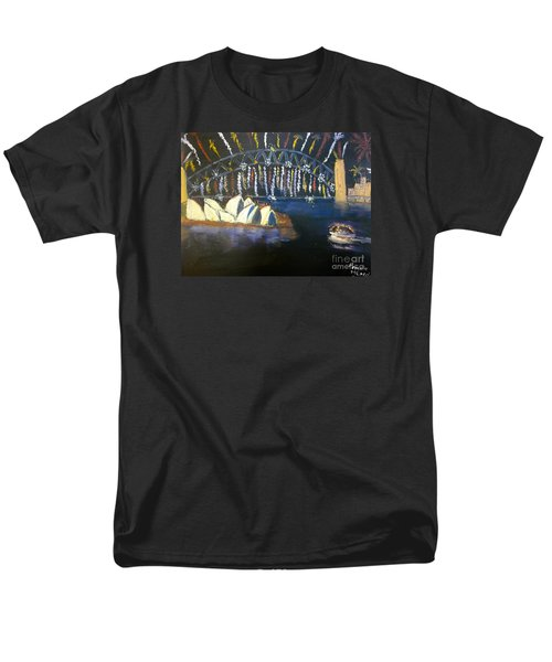 Men's T-Shirt  (Regular Fit) featuring the painting New Year Eve On Sydney Harbour by Pamela  Meredith