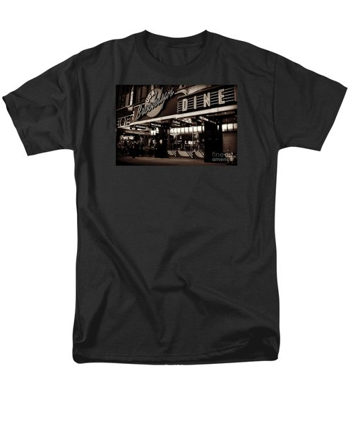 New York At Night - Brooklyn Diner - Sepia Men's T-Shirt  (Regular Fit) by Miriam Danar