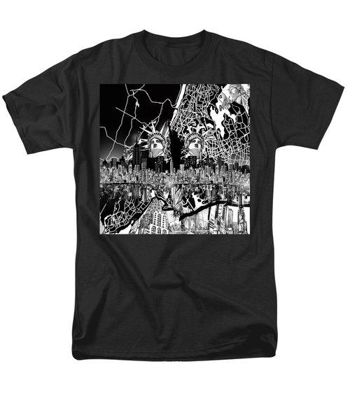 New York Map Black And White 2 Men's T-Shirt  (Regular Fit) by Bekim Art