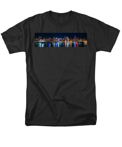 New York Panorama By Night Men's T-Shirt  (Regular Fit) by Mihai Andritoiu
