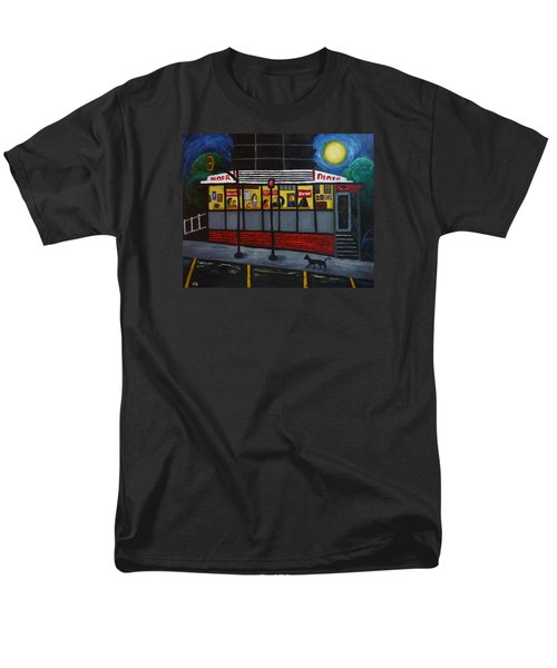 Men's T-Shirt  (Regular Fit) featuring the painting Night At An Arlington Diner by Victoria Lakes