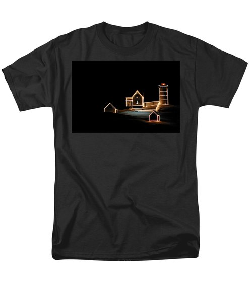 Nubble Lighthouse Christmas Lights Men's T-Shirt  (Regular Fit) by Denyse Duhaime