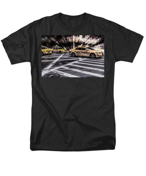 Nyc Yellow Cab On 5th Street - White Men's T-Shirt  (Regular Fit) by Hannes Cmarits