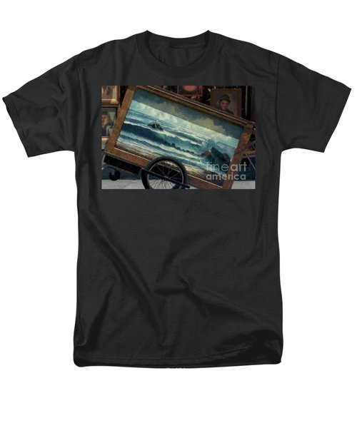 Men's T-Shirt  (Regular Fit) featuring the photograph Ocean On Wheels Artist Cart At Jackson Square New Orleans La Usa by Michael Hoard
