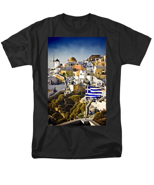 Men's T-Shirt  (Regular Fit) featuring the photograph Oia And A Greek Flag by Meirion Matthias