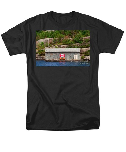 Old Boathouse With Two Muskoka Chairs Men's T-Shirt  (Regular Fit) by Les Palenik