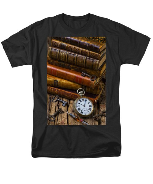 Old Books And Pocketwatch Men's T-Shirt  (Regular Fit) by Garry Gay