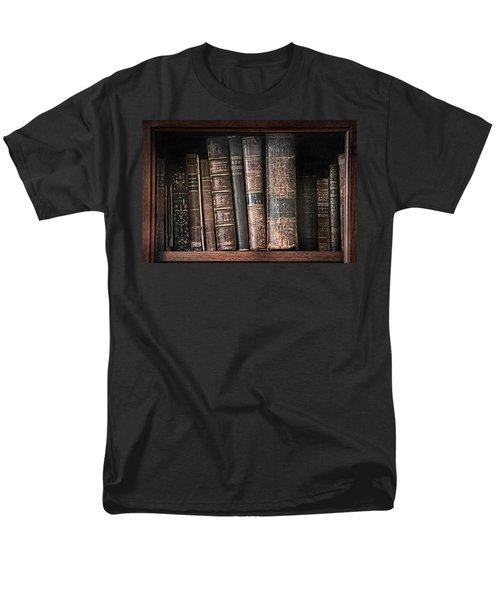 Old Books On The Shelf - 19th Century Library Men's T-Shirt  (Regular Fit) by Gary Heller