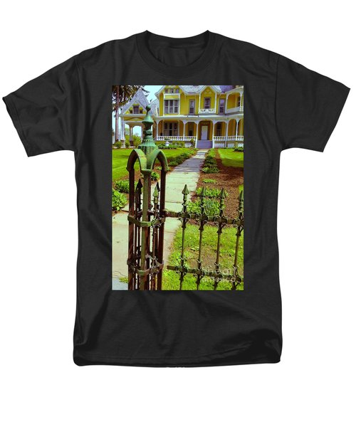 Men's T-Shirt  (Regular Fit) featuring the photograph Old Green Wrought Iron Gate by Becky Lupe