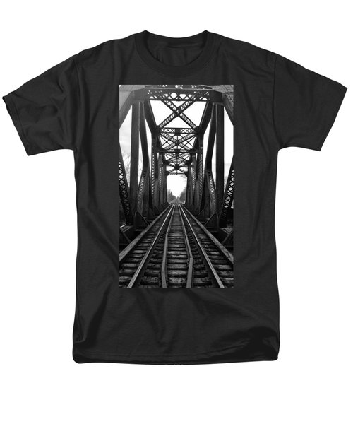 Old Huron River Rxr Bridge Black And White  Men's T-Shirt  (Regular Fit) by Daniel Thompson
