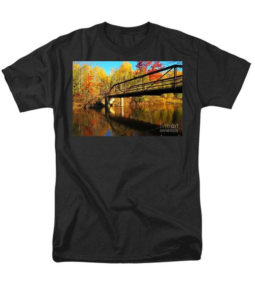 Men's T-Shirt  (Regular Fit) featuring the photograph Historic Harvey Bridge Over Manistee River In Wexford County Michigan by Terri Gostola