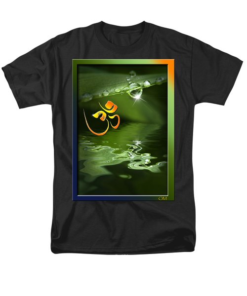 Men's T-Shirt  (Regular Fit) featuring the mixed media Om On Green With Dew Drop by Peter v Quenter