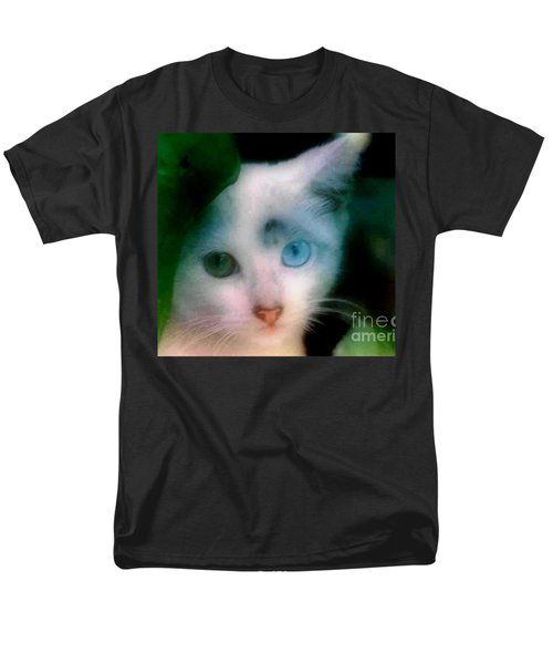 One Blue One Green Cat In New Olreans Men's T-Shirt  (Regular Fit) by Michael Hoard