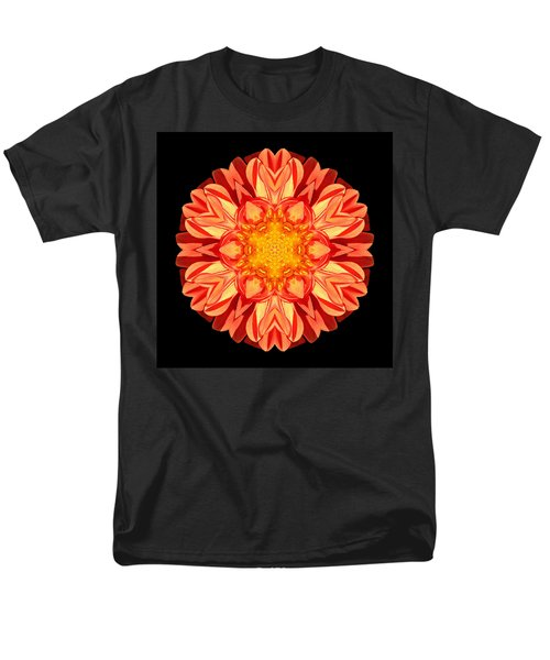 Orange Dahlia Flower Mandala Men's T-Shirt  (Regular Fit)