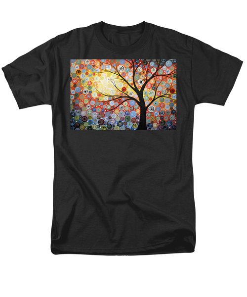 Men's T-Shirt  (Regular Fit) featuring the painting Original Painting Print Titled Celestial Sunset by Amy Giacomelli