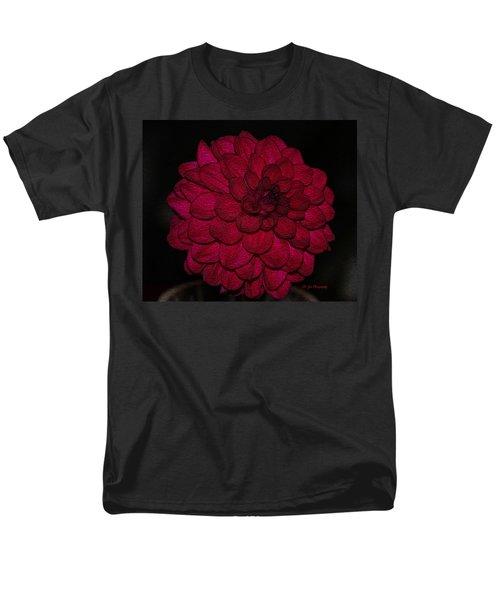 Ornate Red Dahlia Men's T-Shirt  (Regular Fit) by Jeanette C Landstrom