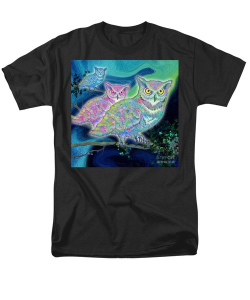 Men's T-Shirt  (Regular Fit) featuring the painting Owls At Midnight  Square by Teresa Ascone