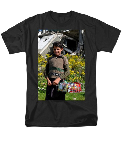 Men's T-Shirt  (Regular Fit) featuring the photograph Pakistani Boy In Front Of Hotel Ruins In Swat Valley by Imran Ahmed