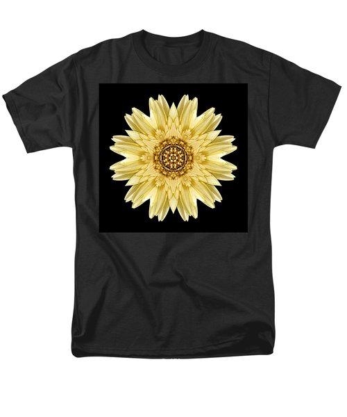 Men's T-Shirt  (Regular Fit) featuring the photograph Pale Yellow Gerbera Daisy I Flower Mandala by David J Bookbinder