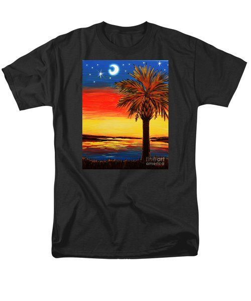 Men's T-Shirt  (Regular Fit) featuring the painting Palmetto Moon And Stars by Patricia L Davidson
