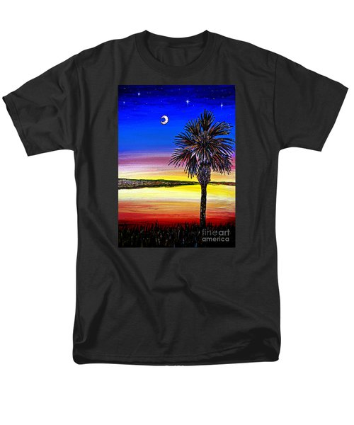 Men's T-Shirt  (Regular Fit) featuring the painting Palmetto Sunset Moon And Stars by Patricia L Davidson