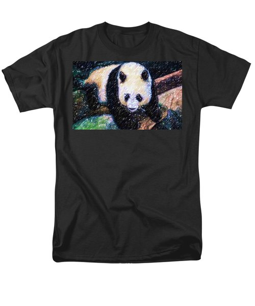 Men's T-Shirt  (Regular Fit) featuring the painting Panda In The Rest by Lanjee Chee