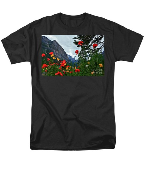 Men's T-Shirt  (Regular Fit) featuring the photograph Peaks And Poppies by Linda Bianic