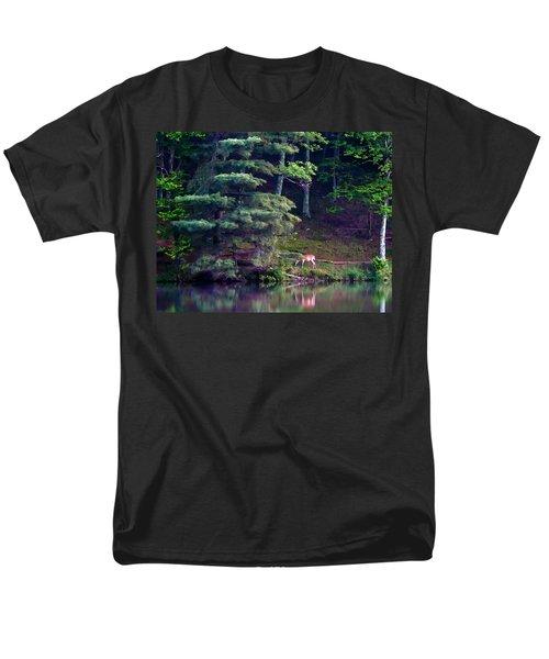 Men's T-Shirt  (Regular Fit) featuring the painting Peaks Of Otter Deer by John Haldane