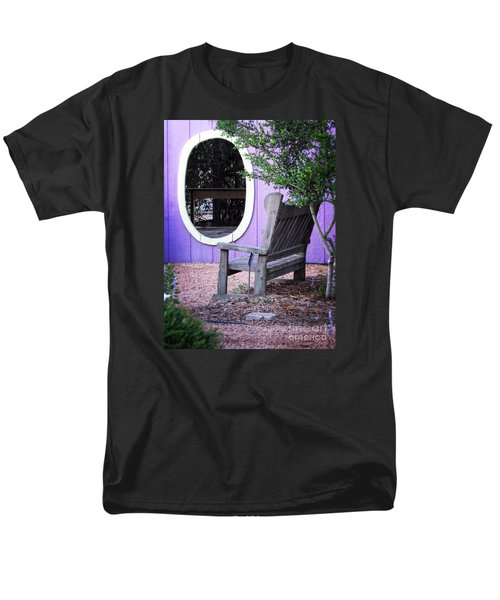Men's T-Shirt  (Regular Fit) featuring the photograph Picture Perfect Garden Bench by Ella Kaye Dickey