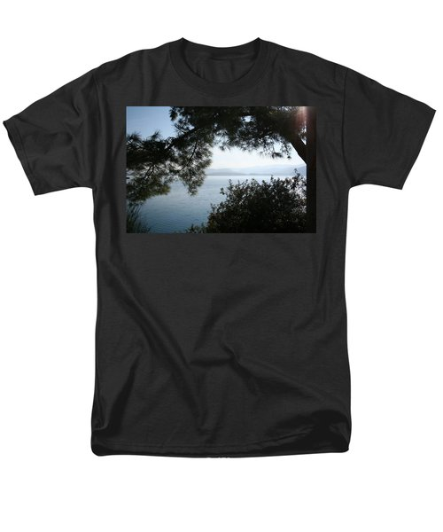 Men's T-Shirt  (Regular Fit) featuring the photograph Pine Trees Overhanging The Aegean Sea by Tracey Harrington-Simpson