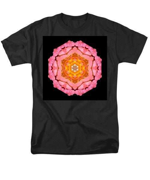 Men's T-Shirt  (Regular Fit) featuring the photograph Pink And Orange Rose I Flower Mandala by David J Bookbinder