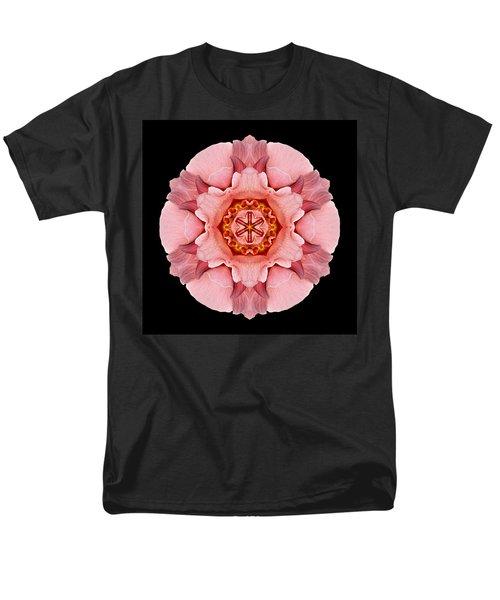 Men's T-Shirt  (Regular Fit) featuring the photograph Pink And Orange Rose Iv Flower Mandala by David J Bookbinder