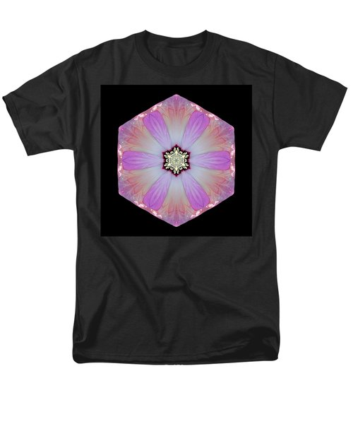 Men's T-Shirt  (Regular Fit) featuring the photograph Pink And White Hibiscus Moscheutos I Flower Mandala by David J Bookbinder