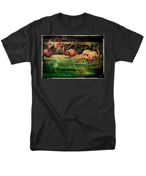 Men's T-Shirt  (Regular Fit) featuring the digital art Pink Flamingos - Shangri-la by Absinthe Art By Michelle LeAnn Scott