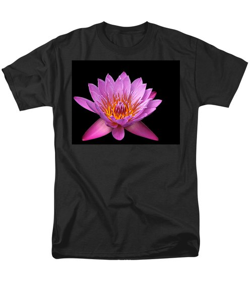Men's T-Shirt  (Regular Fit) featuring the photograph Pink Lady On Black by Judy Vincent