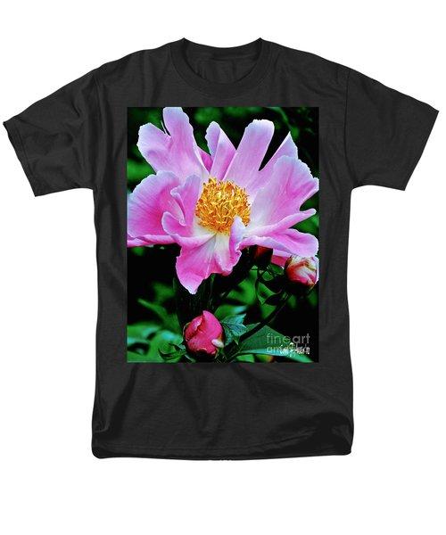 Pink Peony Garden  Men's T-Shirt  (Regular Fit) by Carol F Austin