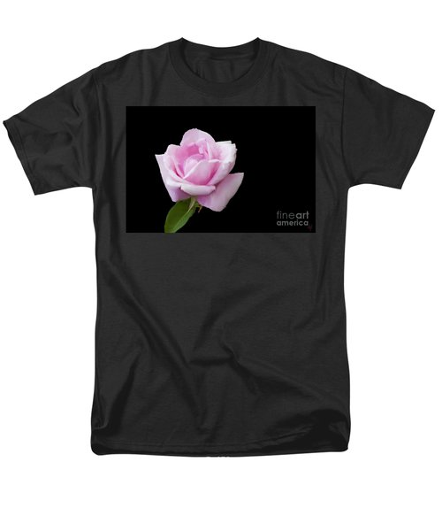 Pink Rose On Black Men's T-Shirt  (Regular Fit) by Victoria Harrington