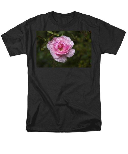 Pink Rose With Raindrops Men's T-Shirt  (Regular Fit) by Belinda Greb