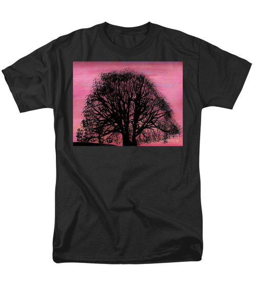 Men's T-Shirt  (Regular Fit) featuring the drawing Pink Sunset Tree by D Hackett