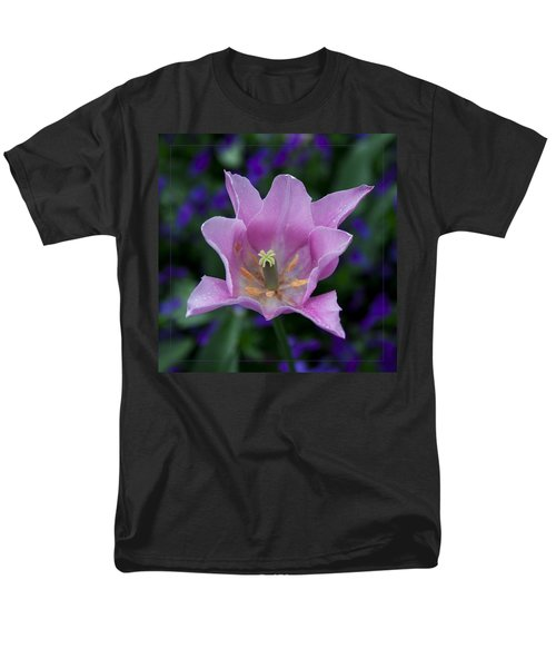 Pink Tulip Flower With A Spot Of Green Fine Art Floral Photography Print Men's T-Shirt  (Regular Fit) by Jerry Cowart