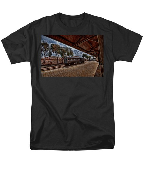 Men's T-Shirt  (Regular Fit) featuring the photograph platform view of the first railway station of Tel Aviv by Ron Shoshani